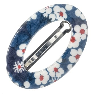 Camila Paris CP2854 Small Handmade Blue French Hair Barrette Oval